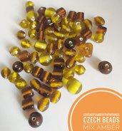 Perline di vetro ceche mix ambra miele 50gr circa