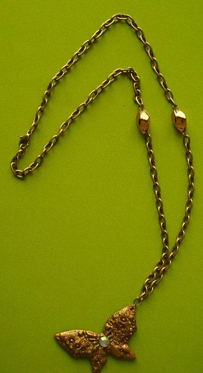 Collana a Farfalla in Fimo e Perle Oro Anticato
