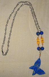 Collana a Farfalla in Fimo e Perle Blu e Arancio