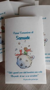 10 bustine/sacchetti personalizzati carta confettata prima comunione ,nascita, battesimo, primo compleanno