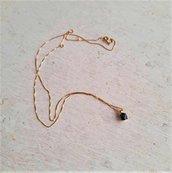 Collana oro giallo 18 carati con zaffiro blu