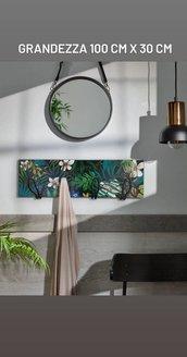 Quadro/appendiabiti in legno tema floreale dipinto a mano con 4 ganci inclusi