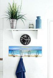 Quadro/appendiabiti in legno tema oceano dipinto a mano con acrilici e con 4 ganci in ferro inclusi