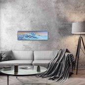 Quadro/appendiabiti tema montagna decorato a mano con colori acrilici con 4 ganci di ferro