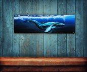 Quadro/appendiabiti tema orca marina dipinto a mano con colori acrilici e 4 ganci di ferro inclusi