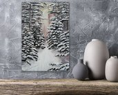 Quadro alberi e neve in legno e dipinto a mano con acrilici