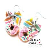 Orecchini Donut - Ciambelle glassata fragole e vaniglia con codette - miniature kawaii