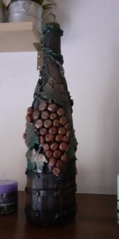 Bottiglia decorata d 'autunno