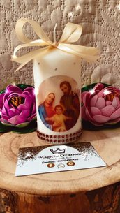 Candela personalizzata sacra famiglia