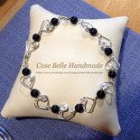 Braccialetto in rame placcato argento con cuori e perle Sandstone Blue