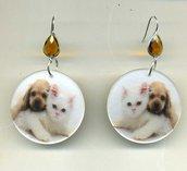 GRANDI ORECCHINI pendenti in madreperla con gattino e cagnolino