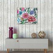 Quadro/appendiabiti o portachiavi in legno con dipinto a fiori