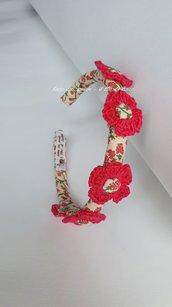 Cerchietto coroncina con fiori lavorati a mano