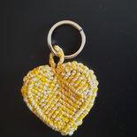 Portachiavi cuore giallo in 3D