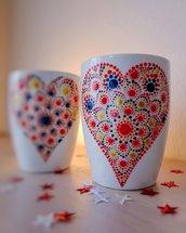 Tazza decorata a mano - cuore mandala - San Valentino