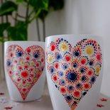 Tazza dipinta a mano - cuore mandala