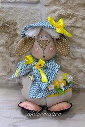 Fermaporta Pecora con fiori e campanello