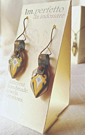 Orecchini in legno effetto ceramica