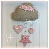 Fiocco nascita nuvola in cotone ecrù laminato con roselline, cuori e stella rosa