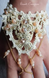 Bracciale uncinetto avorio e oro con perle