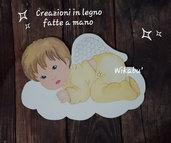ANGELO SU NUVOLA DECORAZIONE DA PARETE  in LEGNO placca da muro dipinta a mano idea regalo bambino o bambina