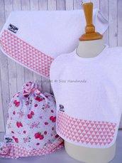 SET ASILO SCUOLA bambino, 3 pezzi: bavaglio, sacca e asciugamano (s. Lively - fragole)
