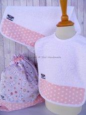 SET ASILO SCUOLA bambino, 3 pezzi: bavaglio, sacca e asciugamano (s. Lively - coniglietti)