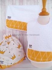 SET ASILO SCUOLA bambino, 3 pezzi: bavaglio, sacca e asciugamano (s. Lively - corone)