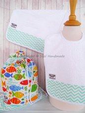 SET ASILO SCUOLA bambino, 3 pezzi: bavaglio, sacca e asciugamano (s. Lively - pesciolini)