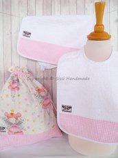 SET ASILO SCUOLA bambino, 3 pezzi: bavaglio, sacca e asciugamano (s. Lively - fatine ballerine)