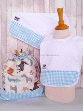 SET ASILO SCUOLA bambino, 3 pezzi: bavaglio, sacca e asciugamano (s. Lively - savana turchese)