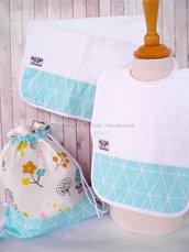 SET ASILO SCUOLA bambino, 3 pezzi: bavaglio, sacca e asciugamano (s. Lively - bosco turchese)