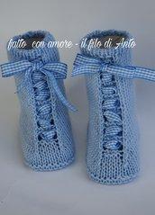 Scarpine stivaletto neonato con stringhe in lana merinos