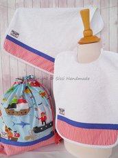 SET ASILO SCUOLA bambino, 3 pezzi: bavaglio, sacca e asciugamano (PIRATI)