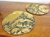 Set di 2 Sotto-piatti/ Sotto-vasi di tessuto Obi/Kimono Giapponese 100%Seta con fili d'Oro /Ottimo per regalo