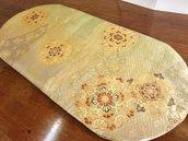 Sottovaso Tessuto di Obi/Kimono 100%Seta con fili d'Oro Giapponese Ottimo per Regalo