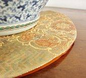 Sotto vaso/oggetto di Tessuto Obi /Kimono Giapponese 100%Seta con fili d'Oro