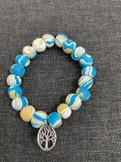 Bracciale in perle colorate e albero della vita