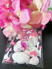 Sacchetto porta confetti con cuoricini fucsia e  rosa e flamingo in legno