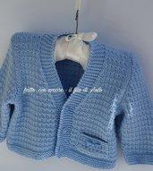 Cardigan coprifasce /giacchino / bambino in lana merinos lavorato a mano