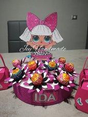 Torta chupa chups lecca lecca decorazione compleanno festa evento lol Surprise gadget polistirolo