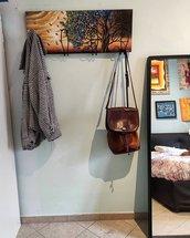 Quadro/appendiabiti a muro personalizzato dipinto a mano con 4 ganci di ferro