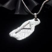 """Ciondolo runico/vikings """"runa Vunjo"""" in argento 925 fatto a mano C13"""