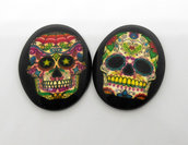 2 cabochon 30x40 teschi messicani sugar skull