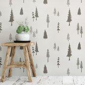 Adesivi abeti stilizzati murali stile nordico