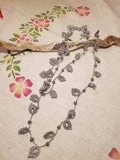 Collana lunga foglie realizzata all'uncinetto (crochet) con filo lurex