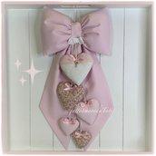 Fiocco nascita in piquet di cotone rosa con cinque cuori rosa e fantasia