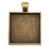 Base per cameo cabochon 25x25mm quadrata bronzo