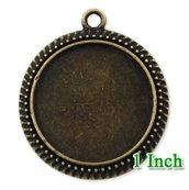 Base per cammeo cabochon diametro 25mm colore bronzo