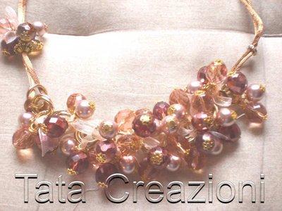 Collana  dorata con perle e cristalli